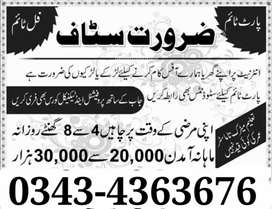 Part-Time /Full-Time /Home-Base Jobs Vacancies Available in Lahore