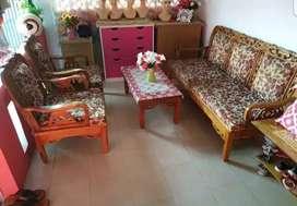 Sofa kayu jati motif bunga coklat