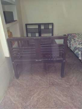 Teak wood cot single writing table