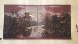 Lukisan diatas kayu & pemandangan senja ;