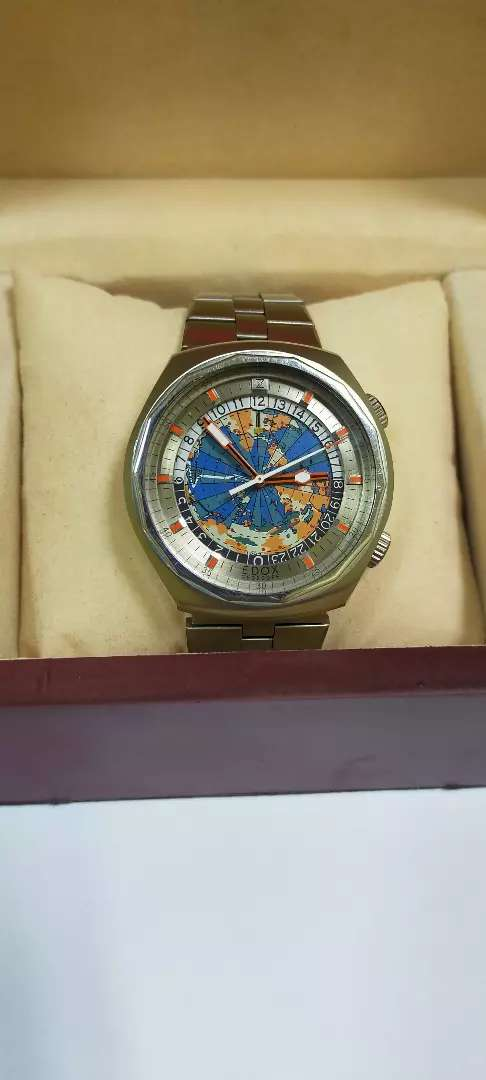 VINTAGE EDOX GEOSCOPE WORLD TIME ZONE GENTS WATCH GOOD WORKING