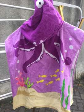 Bathrobe/ Baju Handuk Renang utk Remaja Wanita. Wrn Ungu. Bahan: Katun