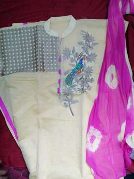 1 set of churidar with lining shawl and embroidery work