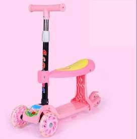 Skuter Anak 3 Roda - Plus Bangku Otoped/ Scooter/Mainan Anak pink ID5