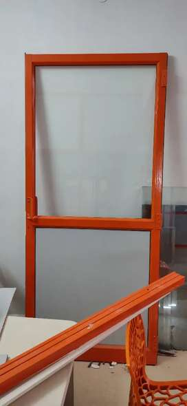 Aluminum channel doors with glass