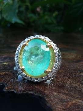 cincin Batu Natural Emerald/Zamrud Colombia Kode 01