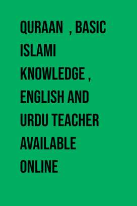 Available Quran teacher with tajweed , English and urdu language