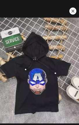 Baju kaos hoodie anak captein america led