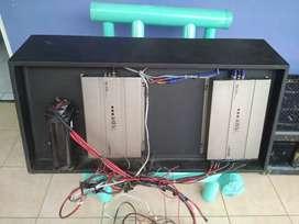 Dual Subwofer lengkap box dan 2 power ads 8000w