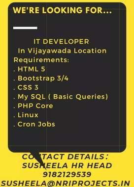 Requirement of IT DEVELOPER in Vijayawada Location