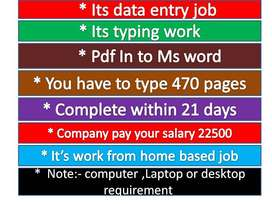 Data entry jobs you can earn good payments 23000 to 46000 pm