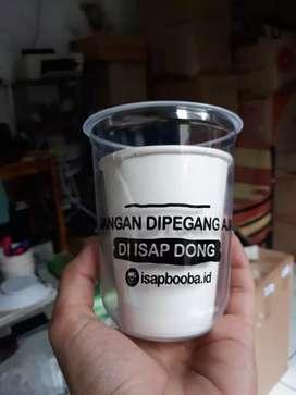 Cetak sablon gelas plastik berkualitas CUP PP OVAL 12oz 8gram