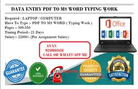 Home based simple typing work data entry operator post available