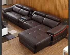 Brown leather sofa set warranty 10 years