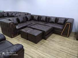 0=intrest EMI BAJAJ FINANCE Modern L sofa with center table and puffs