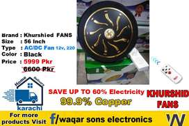 Khurshid 35 Watts Ceiling Fan AC DC | Royal also available
