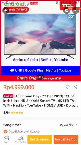 TCL 50A8 ANDROID SMART TV LED 50INCH 4K-UHD-HDR-DVTB MURAH CUMA 4,4JT