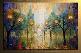 3*5 feet big city abstract painting