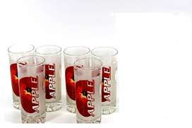 6 Piece Glass Water Set (NEW)   6 Tumblers (225ml) & Aplle