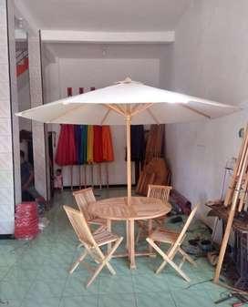 Meja cafe resto tenda kayu jati full berkualitas