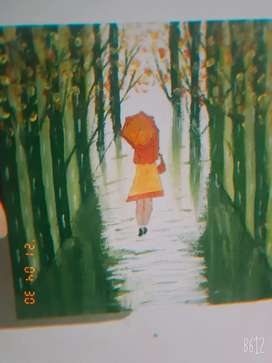 Arcylic painting  A lady walking  in a bamboo forest painting for sale