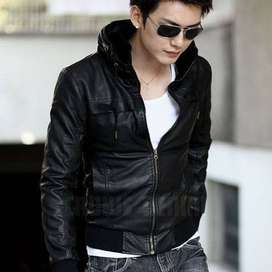 Jaket Leather Black Korean Style - SK57