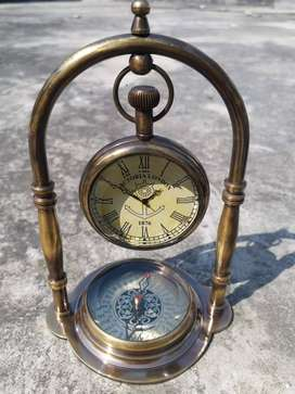 Antique 1876 Brass And Glass Antique Watch with compass Stand by exim