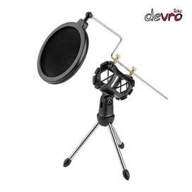 Mini tripod stand microphone universal dengan pop filter