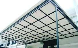 @54 canopy minimalis rangka tunggal atapnya alderon pvc bikin nyaman