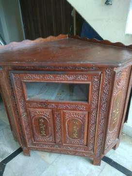 Solid Wood Hand-Made Carved Corner/Almirah