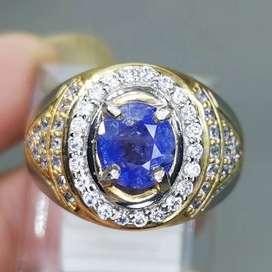 Cincin Batu Permata Blue Safir Ceylon Srilangka Asli