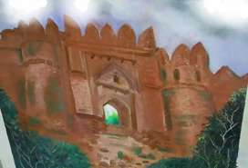 Rohtas fort door painting Hand made oil painting 12/12 inches