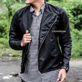 Jaket Kulit Black Hunter Checklist Style - SK52