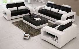 6 Seater sofa in white and brown
