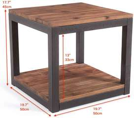 Table with Storage Shelf for Living Room, Night Stand Bedroom, Real Na