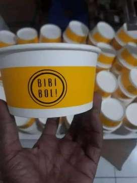paper bowl 650 ML sablon custome tger