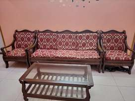 2 Pure Wooden Sofa Sets with Table