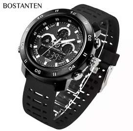 Jam tangan Analog Digital BOSTANTEN Black Style Waterproof