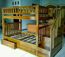 Tempat tidur minimalis anak material kayu jati ajf53