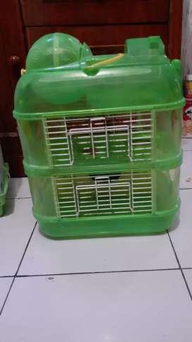 Kandang hamster hijau 2 lantai