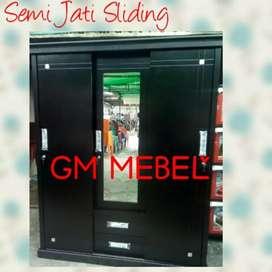 Jl Paus GM MEBEL Lemari Sliding Kayu Semi Jati 3P Kaca