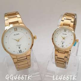Jam tangan alba couple white gold tgl aktif