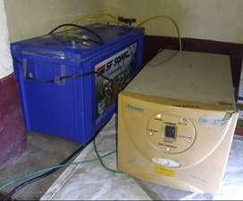 1 Inverter (600 VA)+1 Battery set (Price-9000 for both)