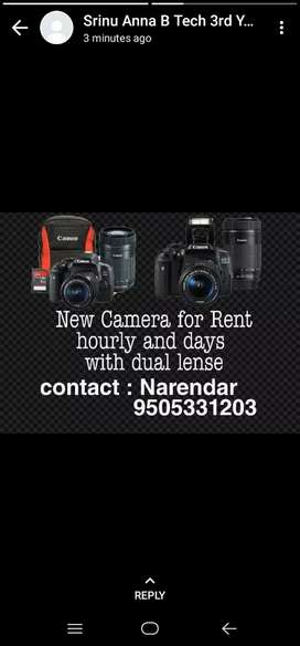 Camera for rent with 2lense . For day 500