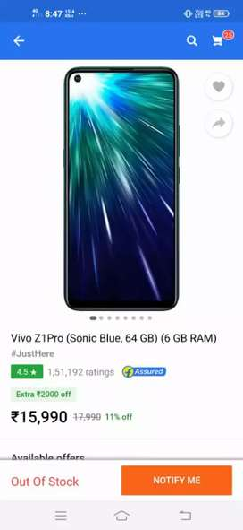 Vivo z1 pro 6gb/64gb 40 day's uses Fixed rate 15000/-