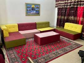 10 seater L shape sofa in multicolor with center table