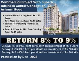 Pre-Leased Main Road Facing 1089 Feet Showroom for Sale on Ashram Road