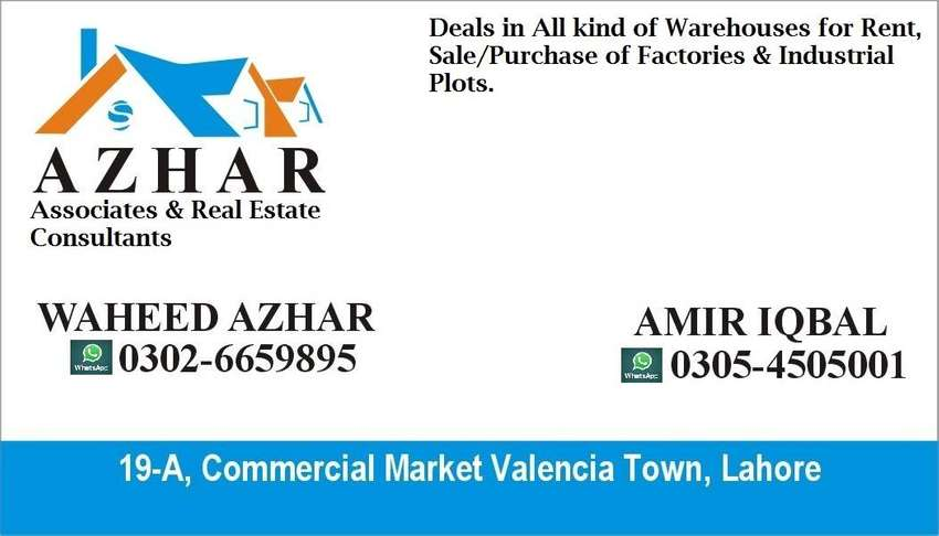 *For Rent*  45000 sq ft Factory/Warehouse on Defence Road, Lahore 0