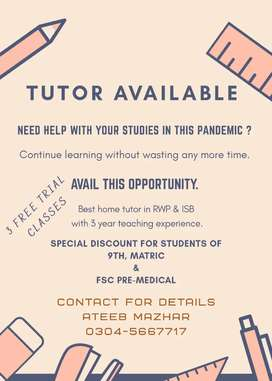 Providing Home Tuition for 9th, 10th, 1st & 2nd year.