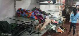 Cloth shope glass, cash counter and other items